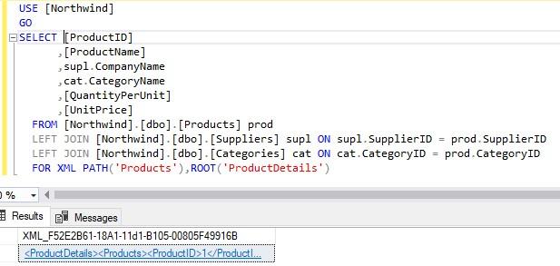 Формирование xml файла через FOR XML PATH